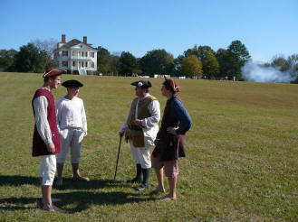 Recent re-enactors at Historic Camden Revolutionary War Site (above) depict roles of civilians, as well as military participants.
