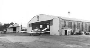 Built in 1932, Camden Airport hanger used by the Southern Aviation School. SC Archives and History Center photo.