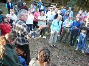 Jamie Guy tells old hunting stories at Deer Hope Lodge,  grounds of the Boykin Hunt Club.