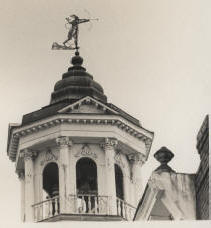 "The Catawba Path is traveled in part today by anyone who uses Broad Street in Camden, where appropriately the weathervane effigy of Catawba chief ""King Haiglar"" tops the historic town tower. (Image from mid-1900s)"